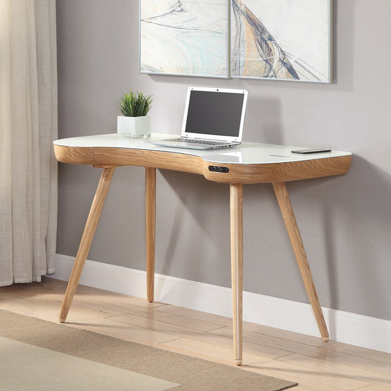 Jual San Francisco Smart Desk Oak / White - with Speaker and Fast Phone Charging