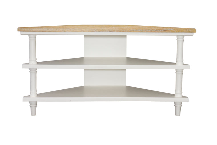 Bodiam Rochester Corner TV Unit 2 Shelves Antique White
