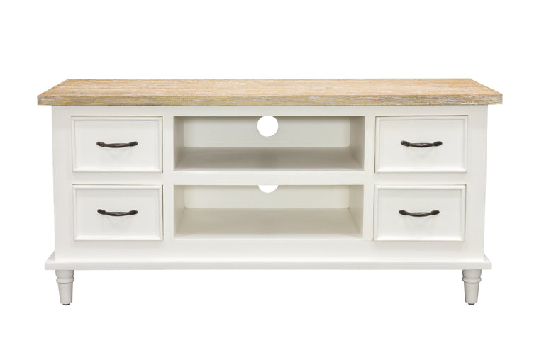 Bodiam Rochester TV Unit 4 Drawer 2 Shelves Antique White