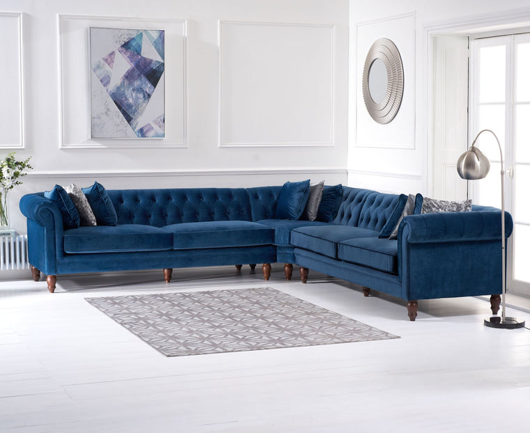 Mark Harris Lauren Blue Velvet 2 + 2 Corner Sofa