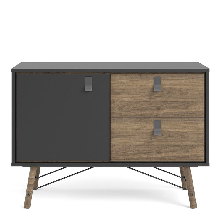 Axton Longwood Sideboard with 1 Door + 2 Drawers In Matt Black Walnut
