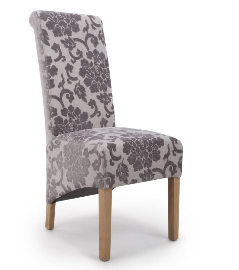 Hawksmoor Krista Roll Back Baroque Velvet Mink Chair (Pair)