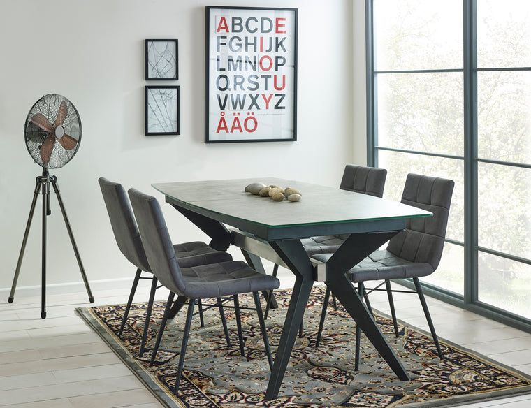 Mark Webster Soho Extending Dining Table & 4 Light Grey Faux Leather Dining Chairs