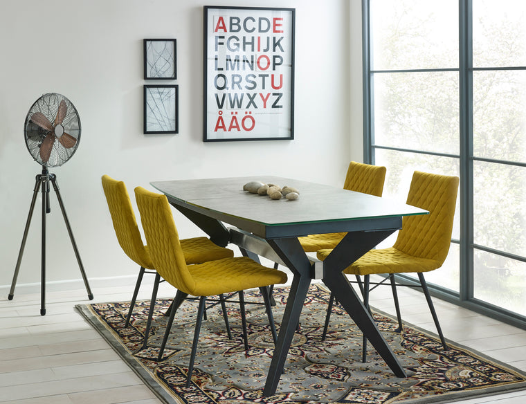Mark Webster Soho Extending Dining Table & 4 Yellow Quilted Dining Chairs