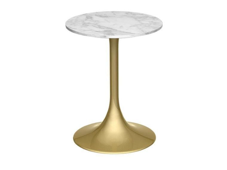 Gillmore Space Swan Circular Side Table White Marble Top