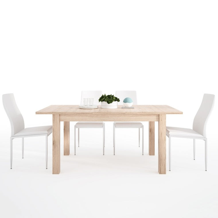 Axton Eastchester Extending Dining Table in Oak + 4 Milan High Back Chair White