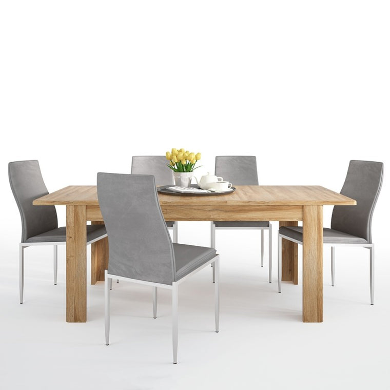Axton Bronxwood Extending Dining Table in Grandson Oak + 6 Milan High Back Chair Grey.