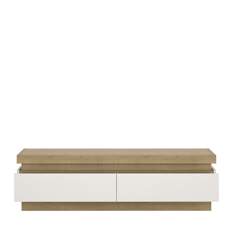 Axton Woodlawn 2 Drawer TV Cabinet (including LED lighting) In Riviera Oak/White High Gloss