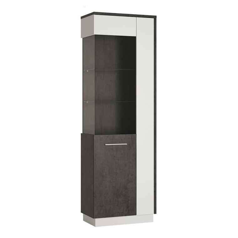 Axton Laconia Tall Glazed display cabinet (LH) in Slate Grey and Alpine White