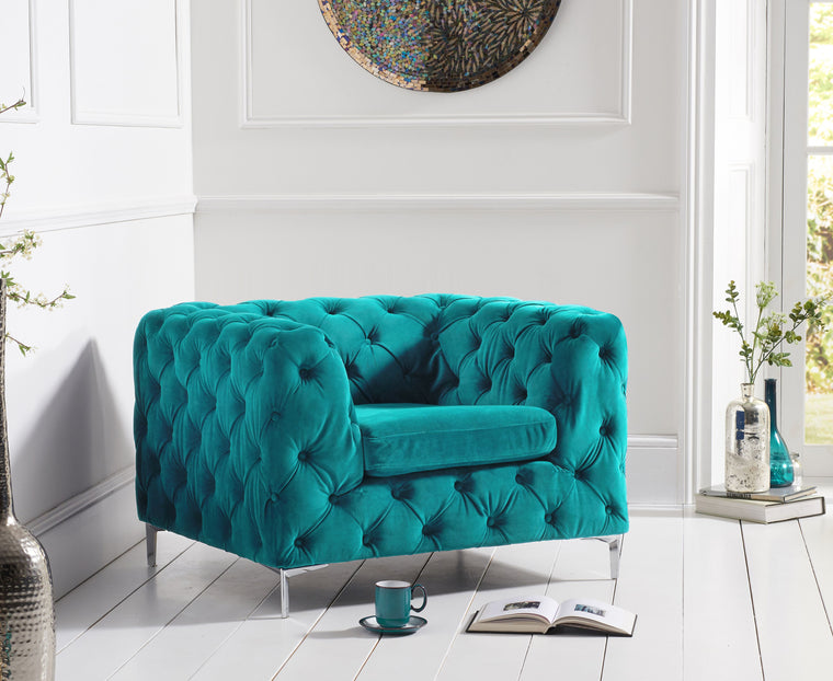 Mark Harris Alegra Teal Plush Armchair