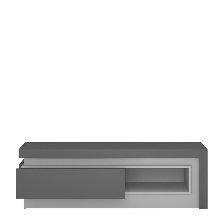 Axton Woodlawn1 Drawer TV Cabinet With Open Shelf (including LED lighting) In Platinum/Light Grey Gloss