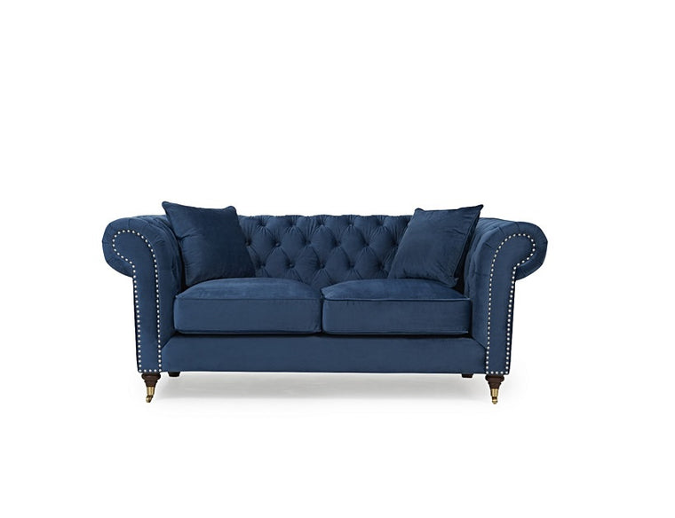 Camara Chesterfield Blue Velvet 2 Seater Sofa