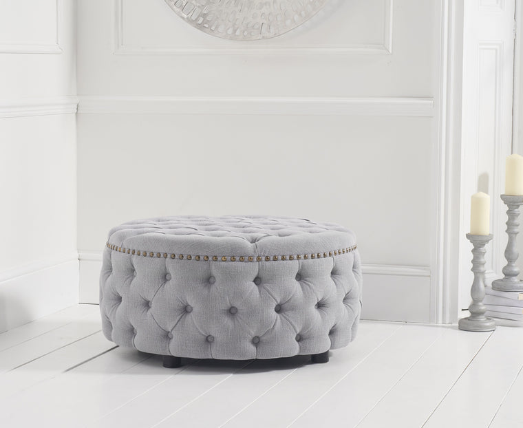 Mark Harris Fiona Grey Linen Round Footstool