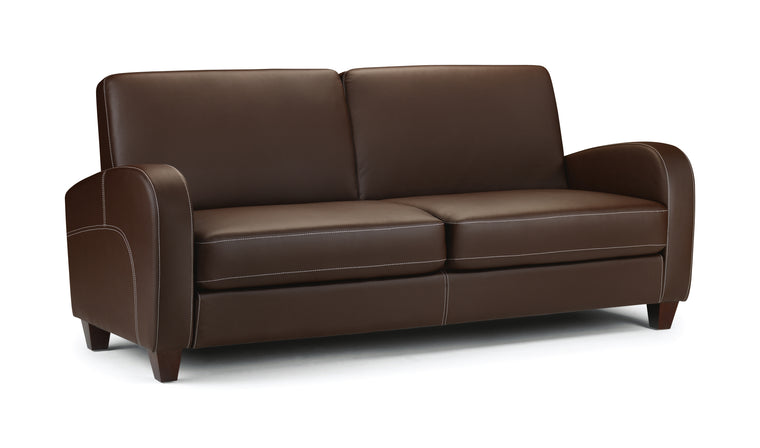 Julian Bowen Vivo 3 Seater Sofa in Chestnut Faux Leather