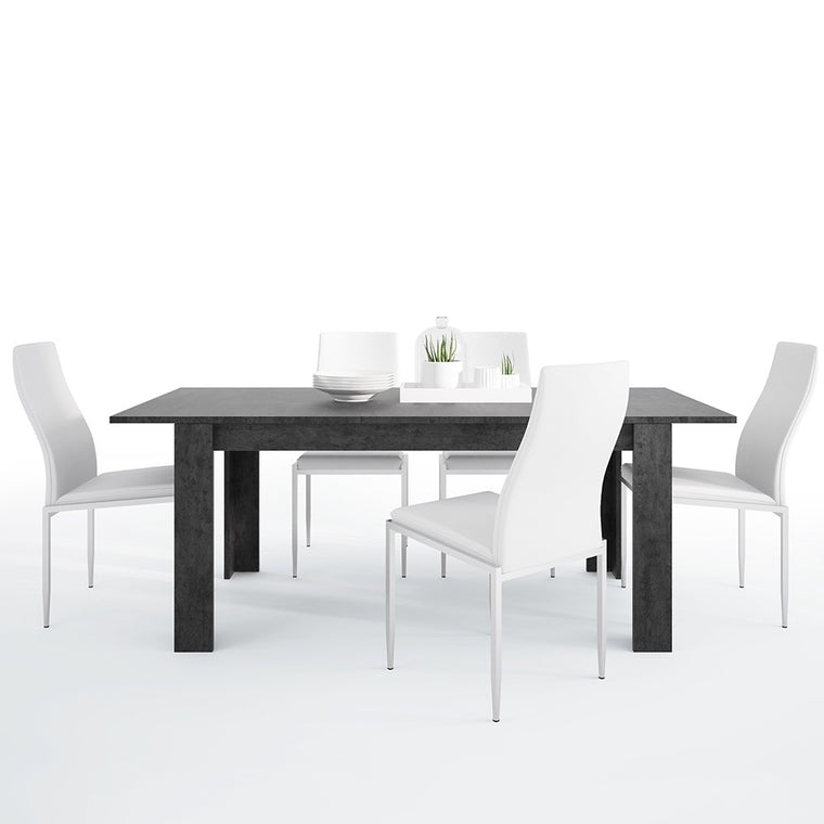 Axton Laconia Dining Table + 6 Milan High Back Chair White