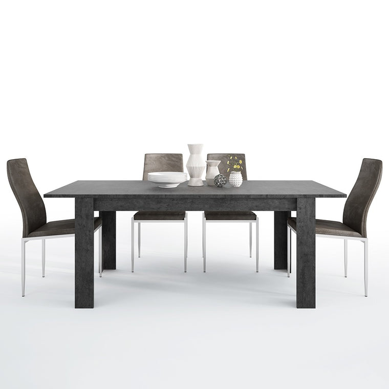 Axton Laconia Dining Table + 6 Milan High Back Chair Dark Brown