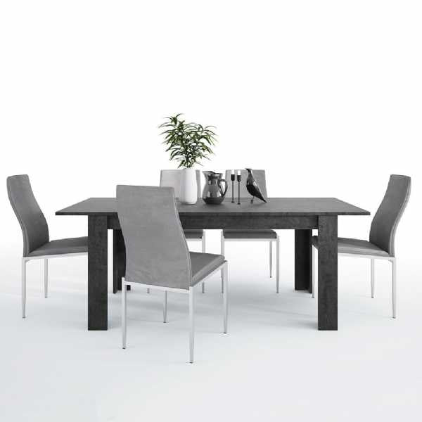 Axton Laconia Dining Table + 6 Milan High Back Chair Grey