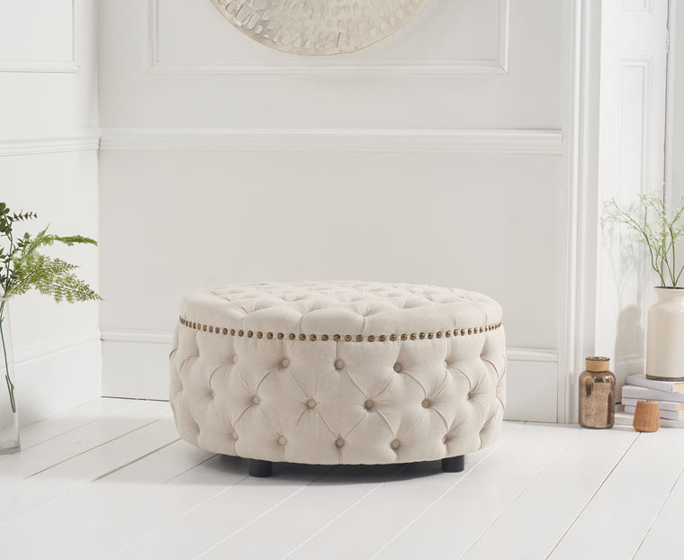 Mark Harris Fiona Cream Linen Round Footstool