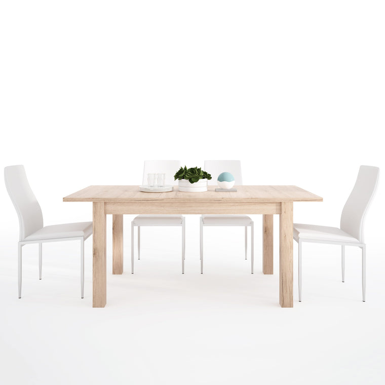 Axton Eastchester Extending Dining Table in Oak + 6 Milan High Back Chair White