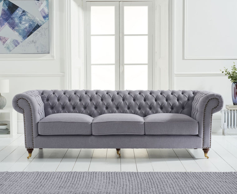 Mark Harris Camara Chesterfield Grey Linen 3 Seater Sofa