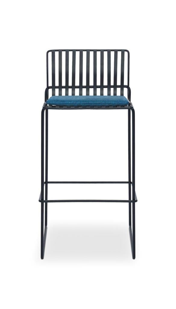 Gillmore Space Finn Bar Stool Admiral Blue Upholstered & Black Frame