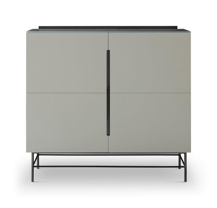 Gillmore Space Alberto Two Door High Sideboard Grey With Dark Chrome Accent