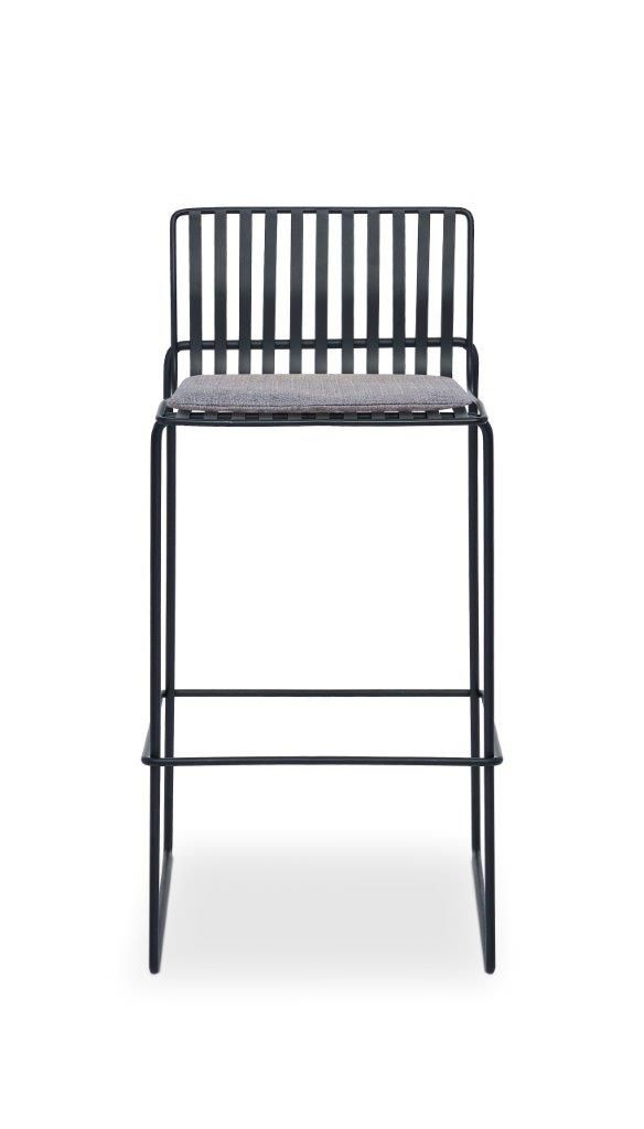 Gillmore Space Finn Bar Stool Pewter Grey Upholstered & Black Frame