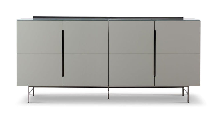 Gillmore Space Alberto Four Door High Sideboard Grey With Dark Chrome Accent