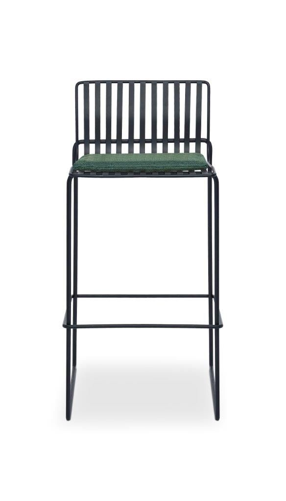 Gillmore Space Finn Bar Stool Conifer Green Upholstered & Black Frame