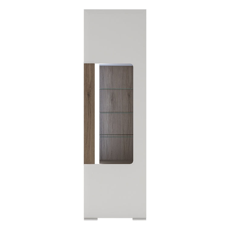 Axton Bronxdale Tall Narrow Glazed Display Cabinet with internal shelves (inc. Plexi Lighting)