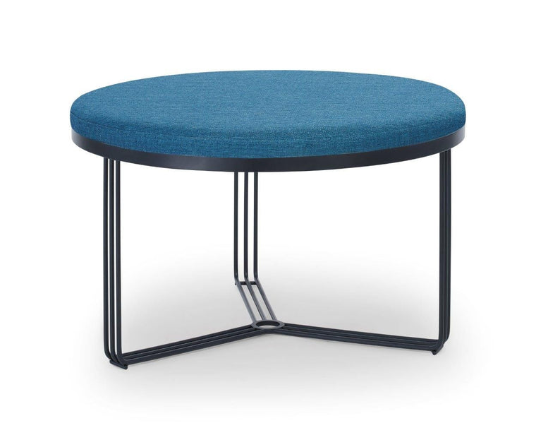 Gillmore Space Finn Small Circular Coffee Table Or Footstool Admiral Blue Upholstered top & Black Frame