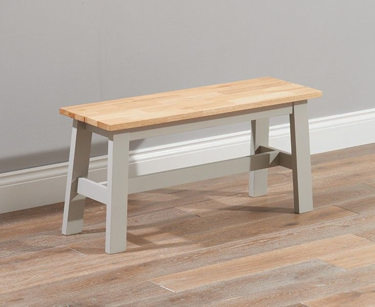 Mark Harris Chichester Solid Hardwood & Painted Small Bench - Oak & Grey