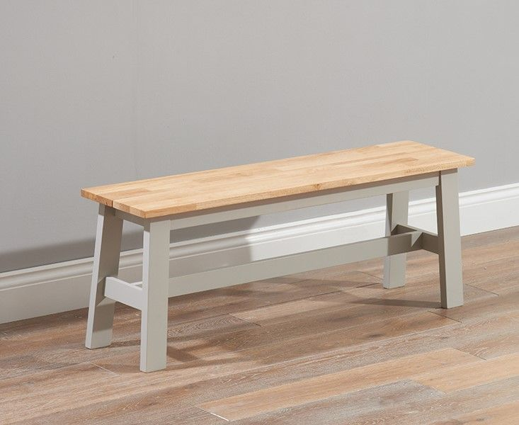 Mark Harris Chichester Solid Hardwood & Painted Large Bench - Oak & Grey