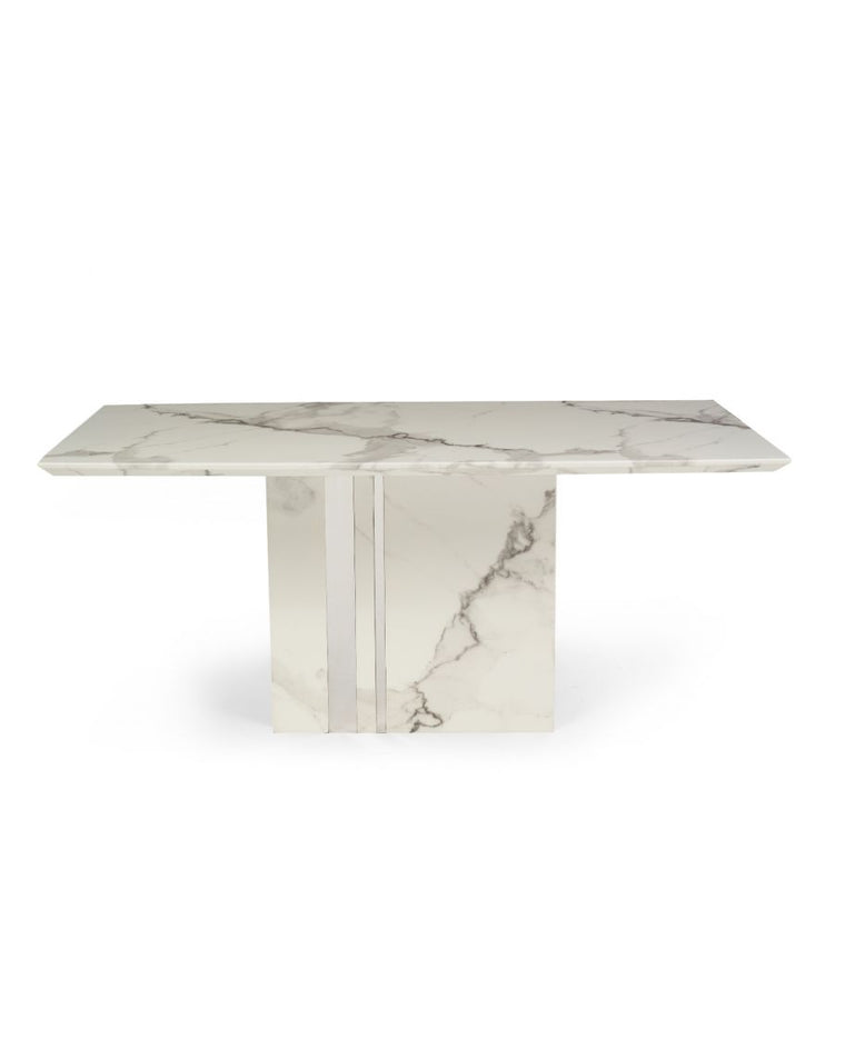 Alice 180cm Ivory White Marble Dining Table
