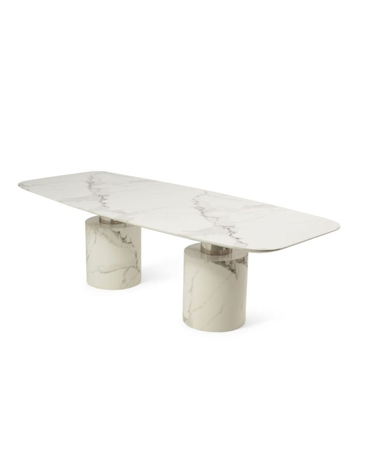 Adeline 260cm Ivory White Marble Dining Table