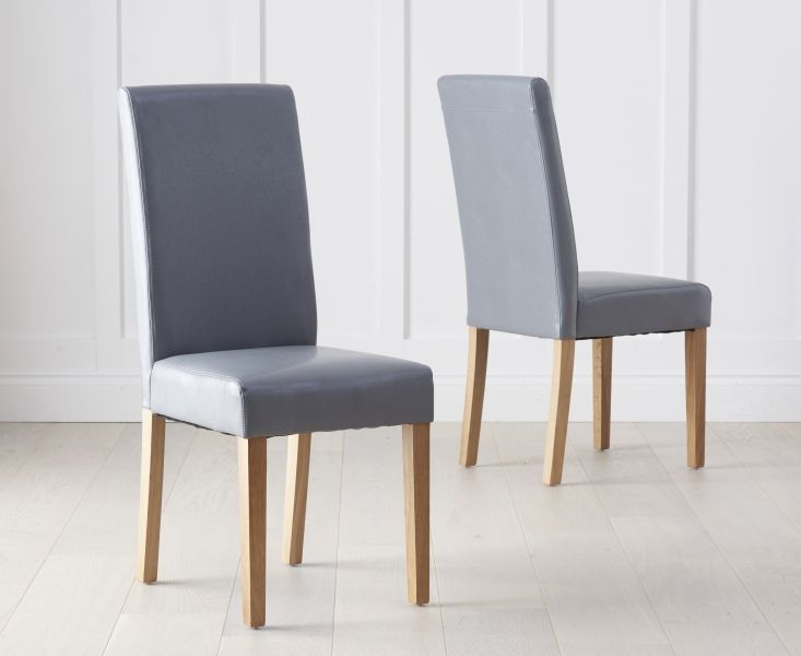 Mark Harris Atlanta Grey Faux Leather Dining Chairs (Pairs)