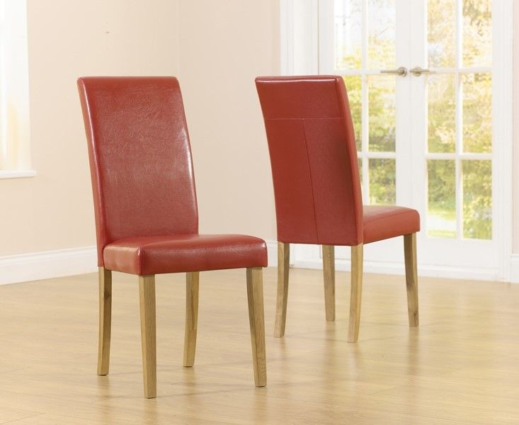 Mark Harris Atlanta Red Faux Leather And Solid Oak Dining Chairs (Pairs)