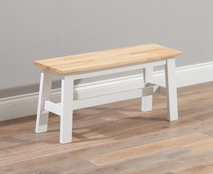 Mark Harris Chichester Solid Hardwood & Painted Small Bench - Oak & White