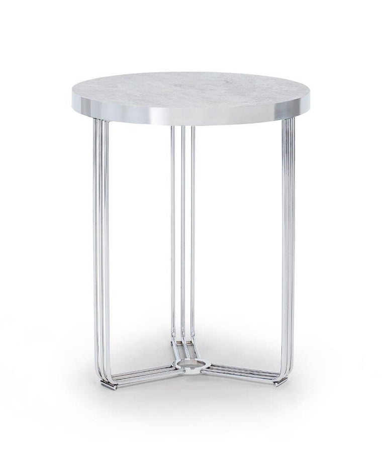 Gillmore Space Finn Circular Side Table Pale Stone Top & Polished Chrome Frame