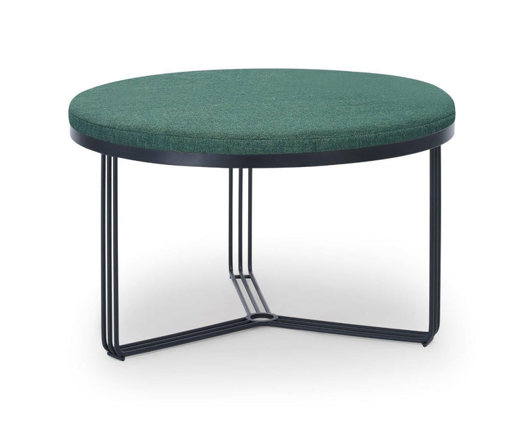 Gillmore Space Finn Small Circular Coffee Table Or Footstool Conifer Green Upholstered & Black Frame