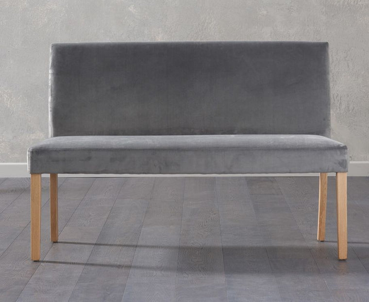 Mark Harris Maiya Large Plush Grey Bench With Back