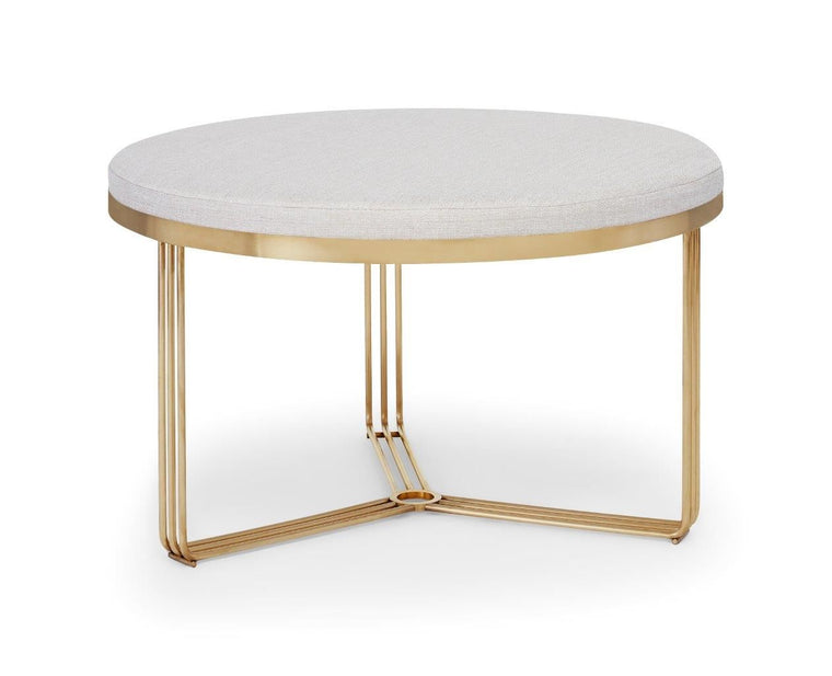 Gillmore Space Finn Small Circular Coffee Table Or Footstool Natural Upholstered & Brass Frame