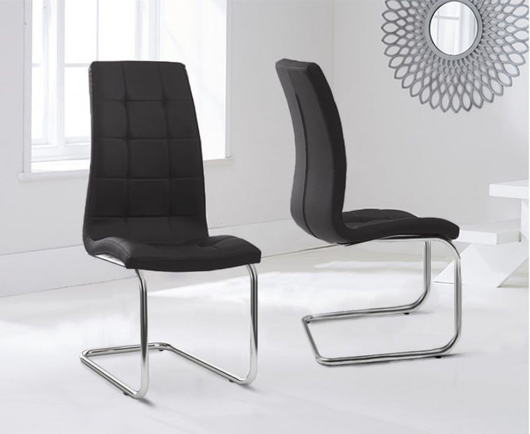 Mark Harris Lucy Hoop Leg Pu Black Dining Chairs (Pair)