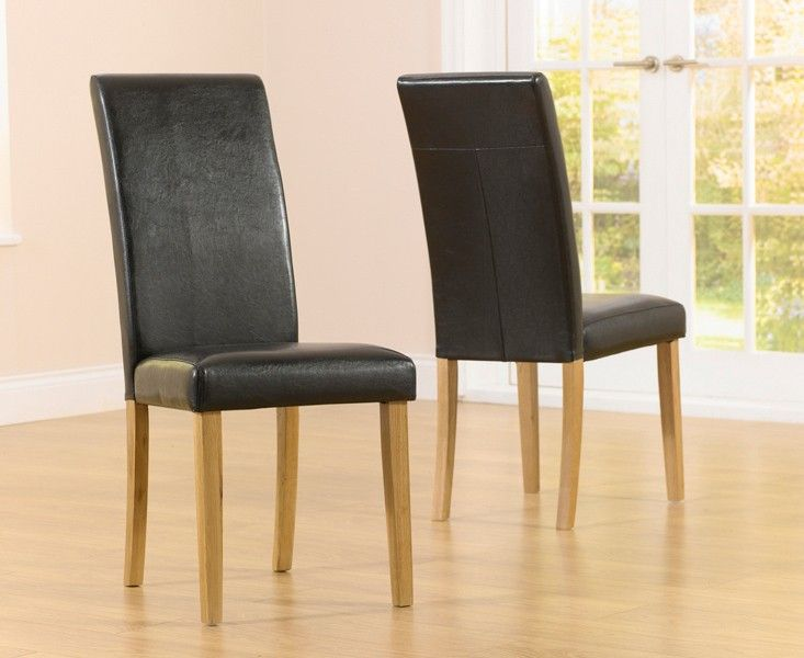 Mark Harris Atlanta Black Faux Leather And Solid Oak Dining Chairs (Pairs)