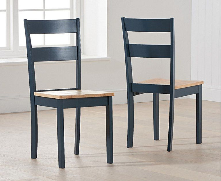 Mark Harris Chichester Solid Hardwood & Painted Dining Chairs (Pairs) - Oak & Blue