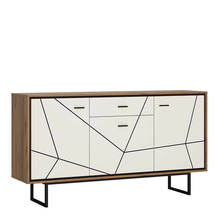 Axton Belmont 3 Door 1 Drawer Sideboard With The Walnut And Dark Panel Finish
