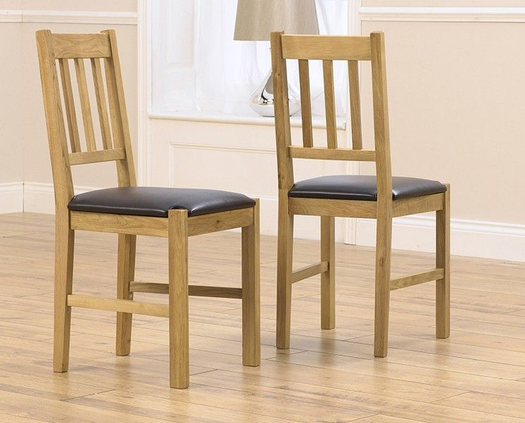 Mark Harris Promo Solid Oak Dining Chair With Brown Pu Seat (Pairs)