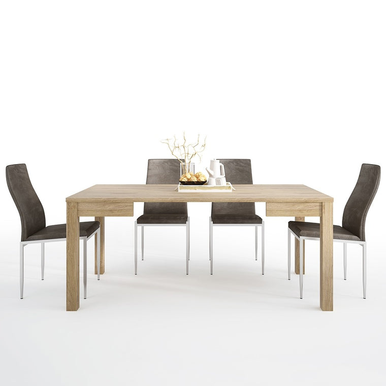 Axton Kingsbridge Extending Dining Table + 4 Milan High Back Chair Brown