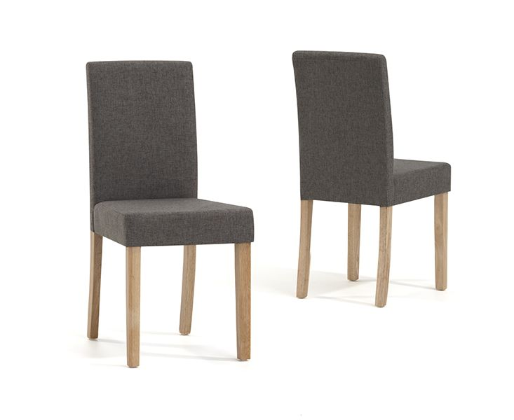 Mark Harris Maiya Brown Weave Fabric Chairs (Pairs)