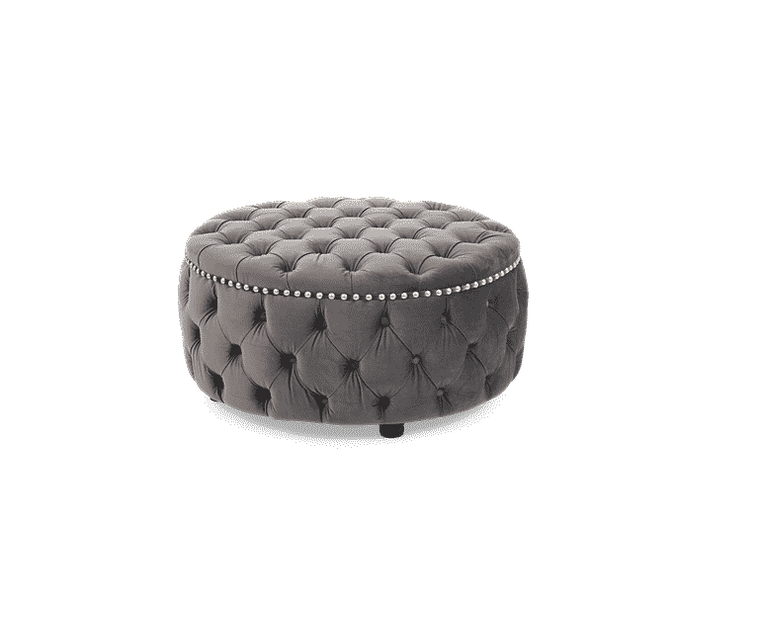 Mark Harris Fiona Grey Velvet Round Footstool